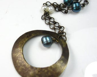Brass Hoop and Pearls Necklace
