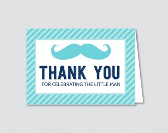 Printable Mustache Thank You Card - Printable Instant Download - Mustache Baby Shower Thank You Cards, Little Man Baby Shower - 0002-A