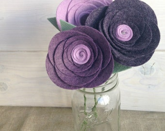 Handmade Felt Flower Stems - Rose (Bunch of 3 stems!)