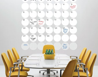 Dry erase POLKA DOTS MONTHLY Calendar - Wall decal office interior decor by Decals Murals
