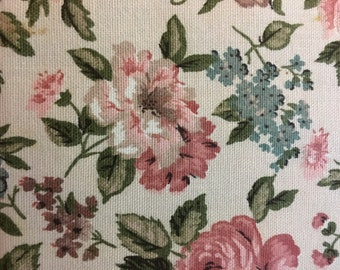"""Vintage Pink Floral Upholstery Fabric 28""""x23"""""""