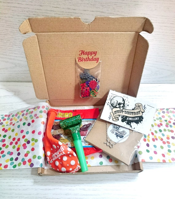 Birthday box, gift wrapped goodie bag, party in a box for her, birthday gift for friend, lucky dip box, surprise gift, lucky bag