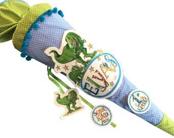 Schultüte Dino, Dinosaurier, mit Namen, Rosirosinchen, 85 cm