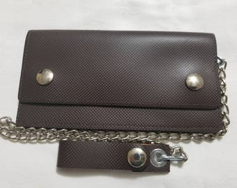 Brown textured leather biker chain wallet
