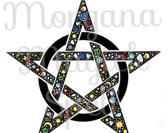 ELEMENTS PENTACLE  Royalty Free Clip Art Illustration Wiccan Digital Image Download Printable Graphic  Transfers Prints HQ 300dpi jpg png