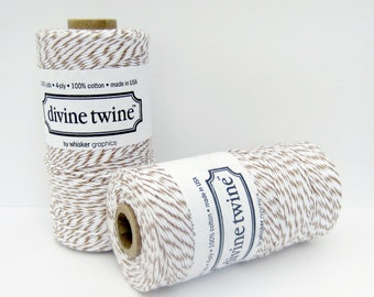 Brown Sugar Divine Twine- full spool, 240 yards, brown and white, Brown Cotton String, Brown Bakers Twine, Craft String, Decorative String