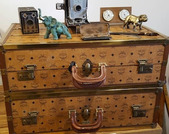 Rare Vintage Leather and Brass MCM Luggage Collection