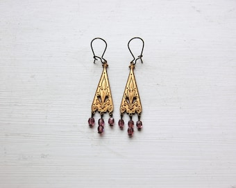 Iulia - A Pair of Brass and Czech Glass Earrings