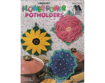 """Vintage 'Annie's Attic' crochet pattern leaflet #879104, """"Flower Power Potholders"""", designed by Cameron Sibley, 6 designs, from 1996."""