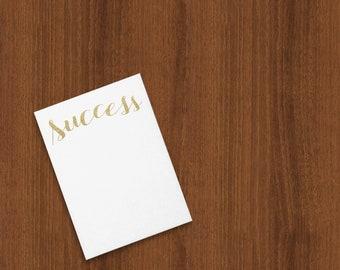 """Gold Glitter Texture """"Success"""" Flat Cards"""