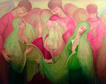 Oil on Canvas Original Signed Painting by Marina Grigoryan Prayer Unique Art