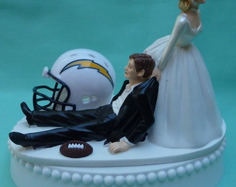 Wedding Cake Topper Los Angeles (formerly San Diego) Chargers LA Football Themed w/ Garter Bride and Groom Humor Favorite Unique Funny Team