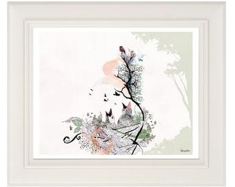 14x11 Art, Birds Nest, Pen and Ink illustration, Birds and Trees, Print of Original Artwork