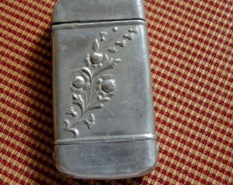 Antique Aluminum Match Safe, Vintage Match Safe, Rare And Unusual Match Safe