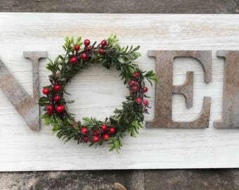 Farmhouse Christmas Sign, Fixer Upper Inspired Sign, Magnolia Christmas Sign, NOEL Wood Sign, Noel Sign, Wreath Sign, Faux Metal Letter Sign