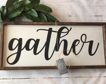 Gather sign, Gather, Wood sign, Hand painted, Farmhouse, Rustic, sign