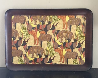 Fred Roberts Wooden Rectangular Tray Made in Japan Animal Tray, African Animal Tray Wild Animal Decor