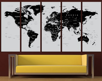 Custom quote push pin world map canvas print world map wall world map canvas print world map wall art set world map print world map poster wall gumiabroncs Gallery