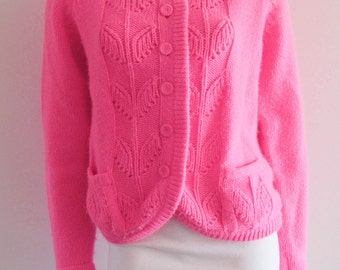 Righteous 80's Vintage Planned Parenthood Pink Acrylic Large Knit Cardigan Sweater