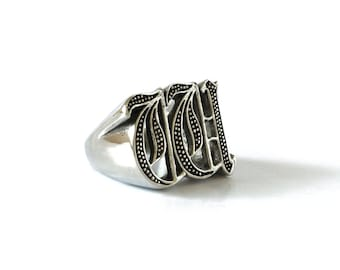 ring silver monogram il english initial listing rings men