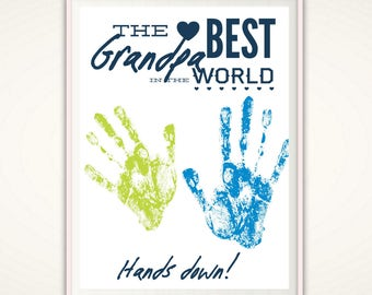Grandpa Gifts - Christmas Grandpa Gift from Grandkids, PRINTABLE Handprint Art, Gift for Grandpa, DIY Handprint Art, Grandad Birthday Gift