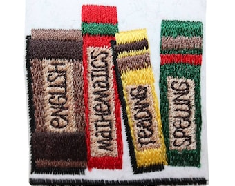 ID 0981B School Book Badge Patch Class Study Books Embroidered Iron On Applique