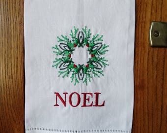 CHRISTMAS TOWEL | Noel | Gift Exchange Under 20 | Holiday Guest Towel | Hostess Gift | Holiday Decor | Embroidered Towel | oba canvas co