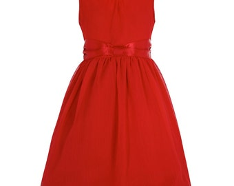 Children's Girls Vintage Style Pretty Red Swing/Party Dress 50s Style Rockabilly