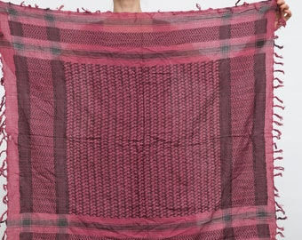 Vintage Beduin Scarf / Wine Red and Black Square Headscarf / Fringes Scarf