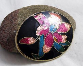 Vintage Cloisonne Brooch, Oval Enamel Brooch, Red Orchid Brooch, Flower Brooch, Black Multicoloured Brooch, 1980s Brooch