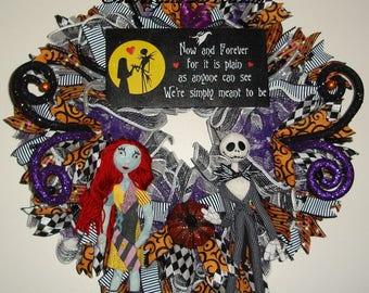 Sally and Jack Skellington Ruffled Mesh Wreath, Nightmare Before Christmas Mesh Wreath, Halloween Wreath, Halloween Decor