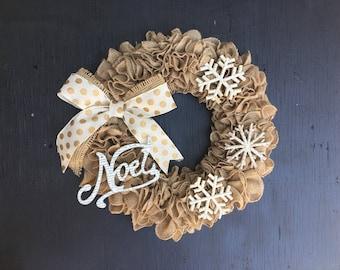 burlap christmas wreath, rustic christmas wreath, neutral christmas wreath, christmas front door wreath, white christmas wreath, snowflake