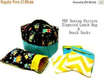 50% OFF SALE Perfect Kid's Lunch Box PDF Sewing Pattern -Plus Bonus Pattern for Waste Free Fold Over Snack Sacks - 4 Sizes Reusable Snack Ba