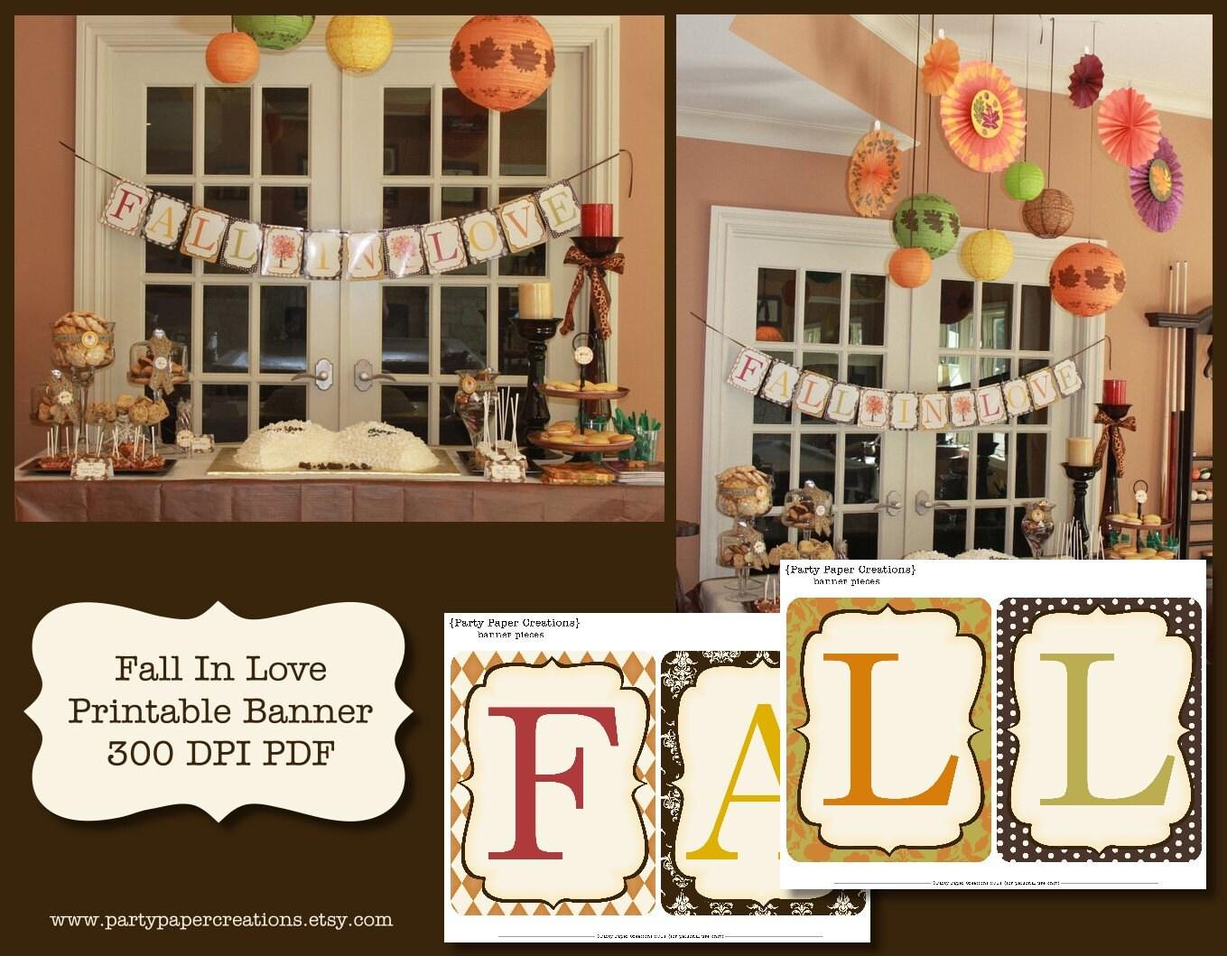 Fall in love bridal shower or wedding printable banner pdf zoom junglespirit Gallery
