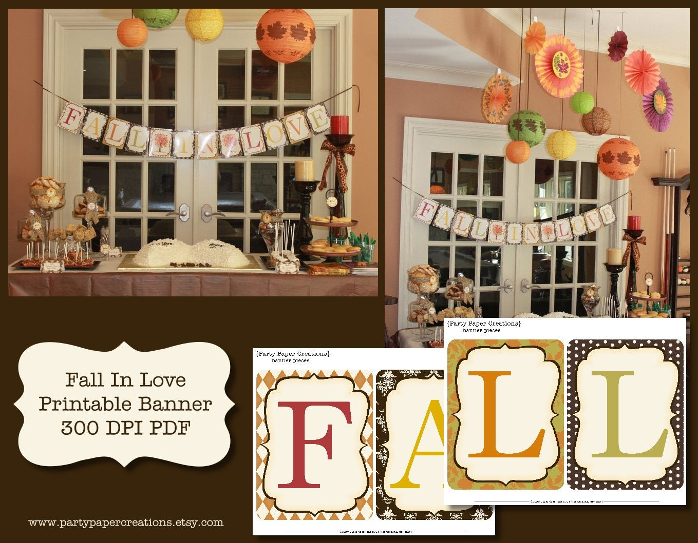 Fall in love bridal shower or wedding printable banner pdf zoom junglespirit Choice Image