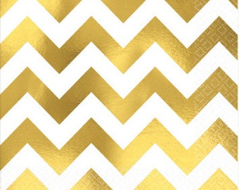 Gold Chevron Foil Napkins/ Gold Chevron Party Napkins/ Gold Party Napkins/ Chevron Party Napkins/ Gold Party