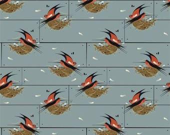 Barn Swallow - Nurture (Charley Harper) Organic Cotton Woven Poplin by Birch (5208.52.00.90)