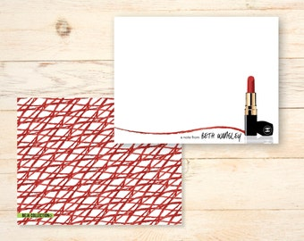 Personalized notecards - RED CHANEL LIPSTICK notecards - Monogrammed Stationery
