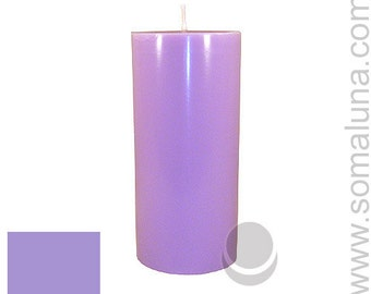 3 x 6.5 Lavender Classic Hand-poured Unscented Pillar Candles Solid Color