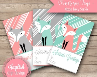 Printable Christmas Tags - Moxie Foxy - INSTANT DOWNLOAD