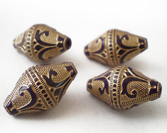 19x11mm Dark Purple Gold Etched bicone Acrylic beads - 6pcs