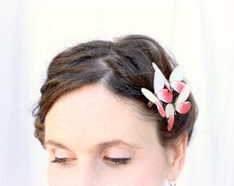 3 handmade pink and white silk butterfly hair clips . under the dogwood tree . realistic gift sweet 16, prom, birthday girls, wedding