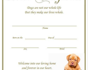 Birth certificate etsy puppy birth certificate yadclub Images