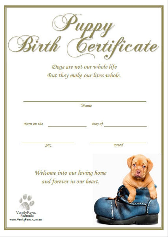 Persnickety image for printable puppy birth certificate