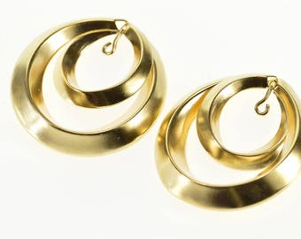 14k Ridged Layered Circle High Relief Earring Jackets Gold