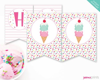 Instant Download Ice Cream Printable Party Banner, Ice Cream Happy Birthday banner, Ice Cream Cone Party Printable, Sprinkles Banner
