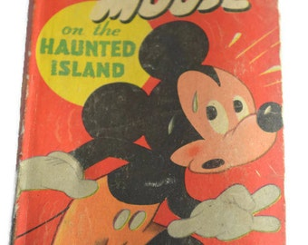 Mickey Mouse on Haunted Island 1950 Edition, 4th Edition, New Better Little Book, Children's Book, Vintage Children's Book, 1950s, Epsteam