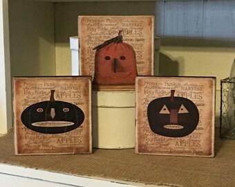 Primitve Fall Decor,Halloween Decoration,Rustic Fall Decor,Primitive Pumpkins,Folk Art Pumpkins