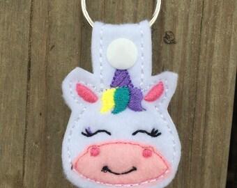 Unicorn Keychain, Unicorn Keyfob, Unicorn Zipper Pull