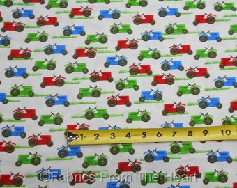Farm Life Tractors in Red Blue Green Grass on White  BY YARDS Henry Glass Fabric